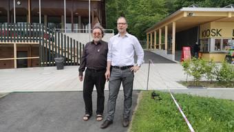 Jürg Lienhard (Suhr, r.), Präsident des Stiftungsrates, und Renato Mazzocco (Aarau), Kassier des Stiftungsrates.