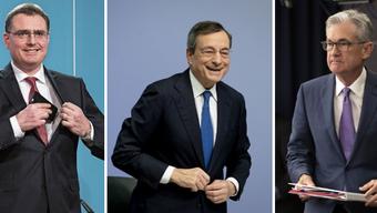 Was sie 2019 taten, bewegte die Aktienmärkte:  Thomas Jordan, Mario Draghi und Jerome Powell (v.l.).
