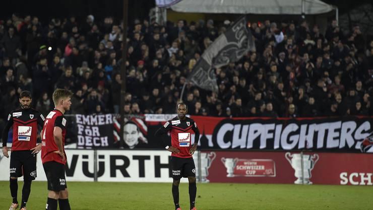 Die Aarauer Spieler nach dem letztjährigen Aus im Cup.