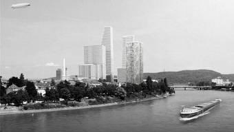 So sieht der Vorschlag der Juso Basel-Stadt für ein neues Wohnhochhaus am Rheinufer im Wettstein-Quartier aus (Gebäude ganz rechts).
