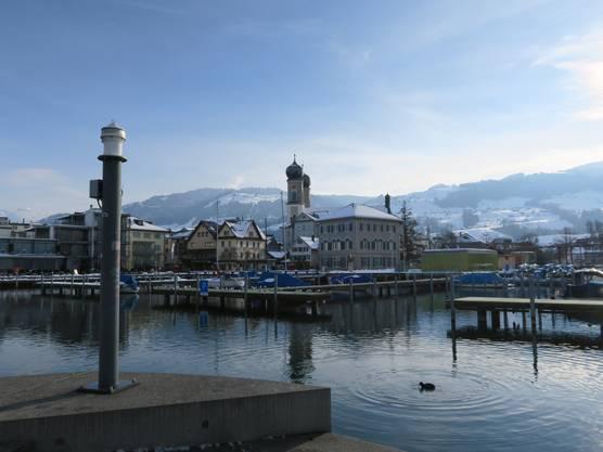 Seehafen von Lachen mit der Pfarrkirche Heilig Kreuz