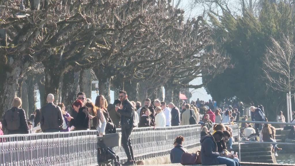 Frühlingsstimmung in Zürich: Die erste Sonne und das erste Eis