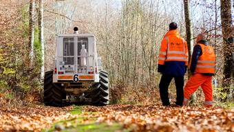 Seismische Messungen am Bözberg im November 2015 – ein Jahr danach werden die Fahrzeuge auch im Gebiet Nördlich Lägern auffahren.