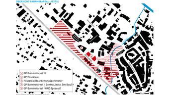 Die Quartierplanung Bahnhofareal III (Nummer 1) umfasst den neuen Bahnhof sowie das geplante Verwaltungsgebäude. Die Quartierplanung Postareal (Nummer 2)beinhaltet die Post sowie die benachbarten Gebäude und der Postareal-Bearbeitungsperimeter (Nummer 3) die Allee, den Lüdin-Park und das Gerichtsgebäude. zVg