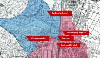 In diesem Rayon durfte sich A.* nicht bewegen. Rot markiert ist der Kanton Baselland, blau Basel-Stadt.