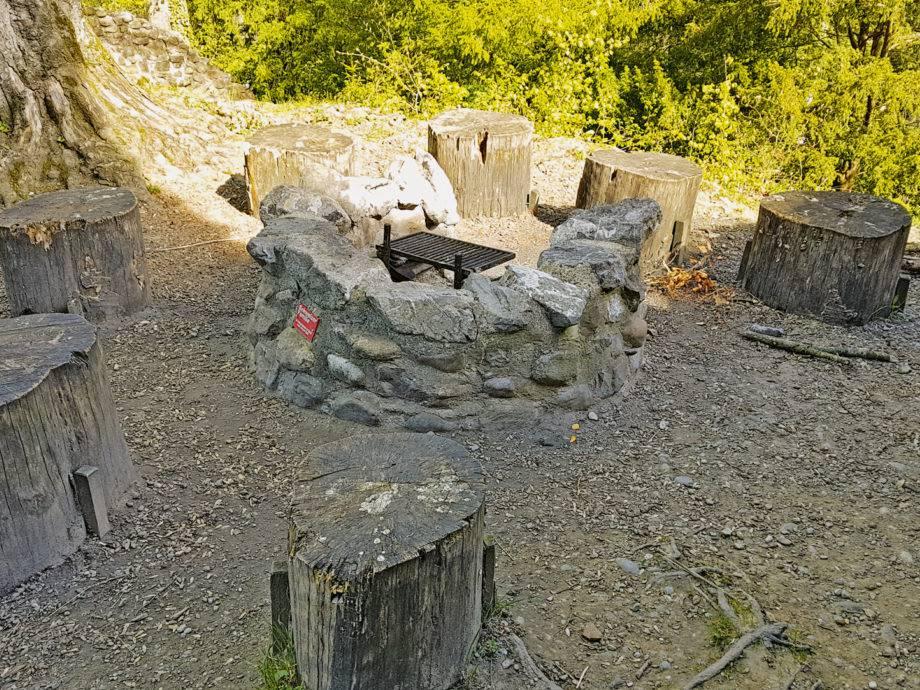Diese Feuerstelle liegt direkt neben der Ruine Ramschwag bei Häggenschwil. (© Schweizer Familie / Werd & Weber Verlag AG)