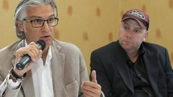 Der Generaldirektor des ATP-Turniers von Genf, Daniel Perroud (l.) zusammen mit Ex-Profi und Sportdirektor Marc Rosset.