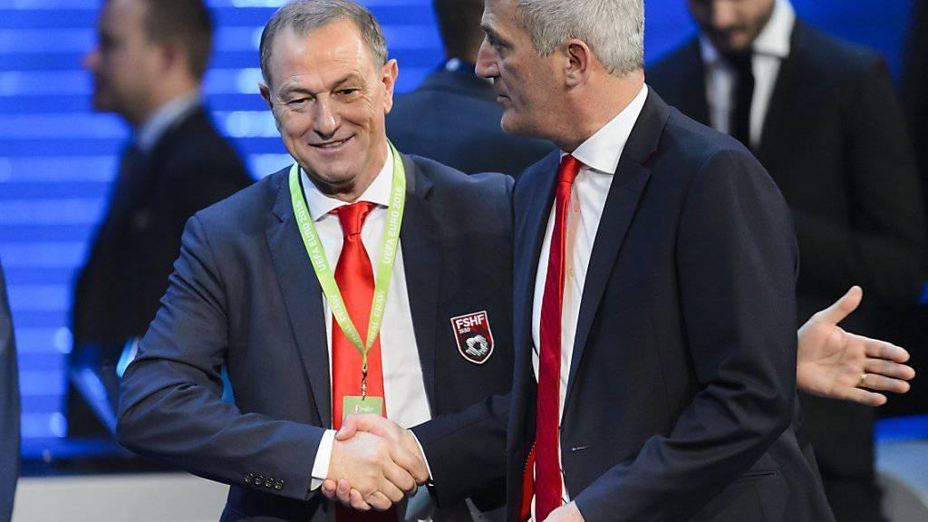 Kontrahenten am 11. Juni: Albaniens Nationaltrainer Gianni De Biasi (links) und Nati-Coach Vladimir Petkovic