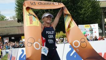 Die Britin Emma Pooley verteidigt ihren Titel am Powerman Zofingen.
