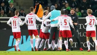Torjubel von RB Leipzig, das sich am Freitag daheim gegen Augsburg durchsetzte