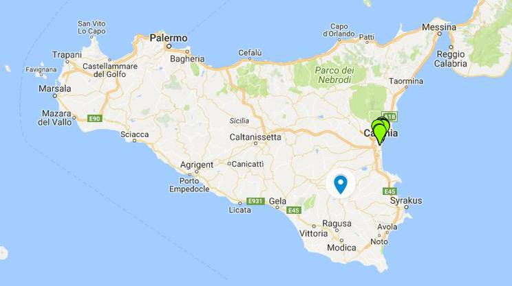 Der Unfallort bei Vizzini (blauer Punkt) auf Sizilien.