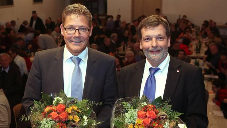 Sie sollen für die CVP die beiden Regierungssitze von Walter Straumann und Klaus Fischer verteidigen: die Kantonsräte Roland Fürst (51, Gunzgen, links) und Roland Heim (57, Solothurn).HR. Aeschbacher