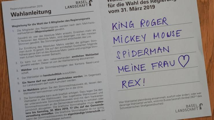 Man kann durchaus «Roger Federer» auf den Zettel schreiben für die Wahlen in den Regierungsrat am 31. März 2019. Machen das genügend Leute, wird eine kleine Suchaktion ausgelöst.
