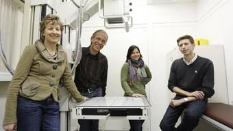 Eröffnung des MediZentrums im Jahr 2013: v.l.: Katharina Cina, Christoph Cina, Claudia Engesser und Christoph Rey. Letztere bleiben in der Praxis.
