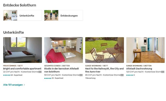 101 Angebote findet, wer auf airbnb.ch nach Unterkünften im Kanton Solothurn sucht.