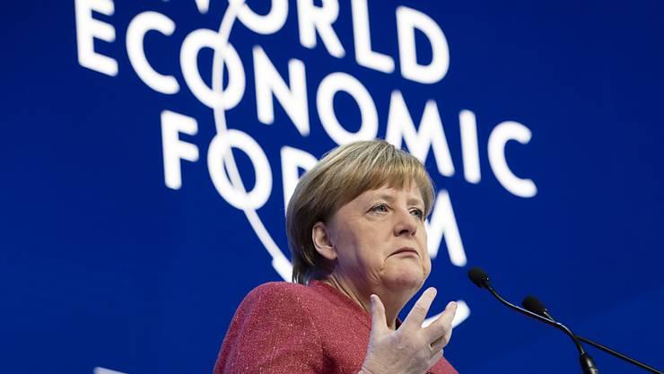 Die deutsche Bundeskanzlerin Angela Merkel spricht am Mittwoch am WEF in Davos.