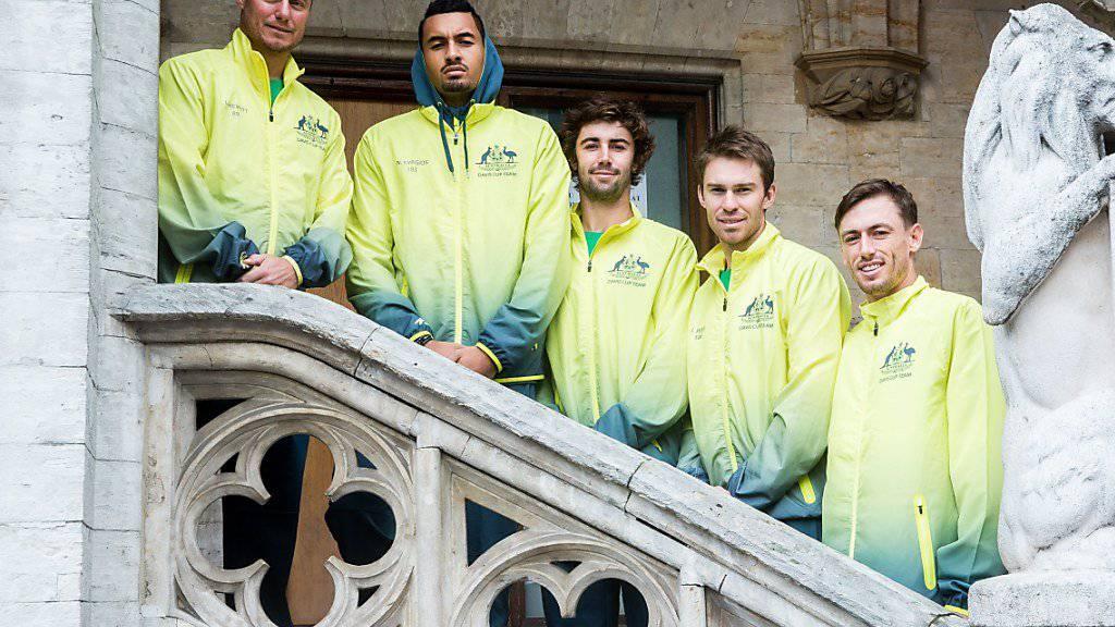 Nick Kyrgios (Zweiter von links) will mit seinen Teamkollegen Australien in den ersten Davis-Cup-Final seit 14 Jahren führen.