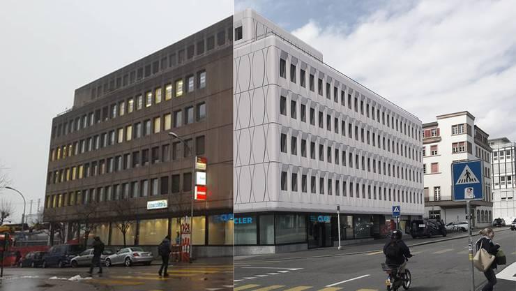 Die Westbahnhofstrasse 1 mit der alten und neuen Fassade.