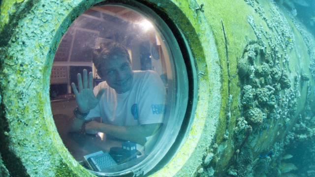 Fabien Cousteau in seinem Unterwasser-Labor in 20 Metern Tiefe