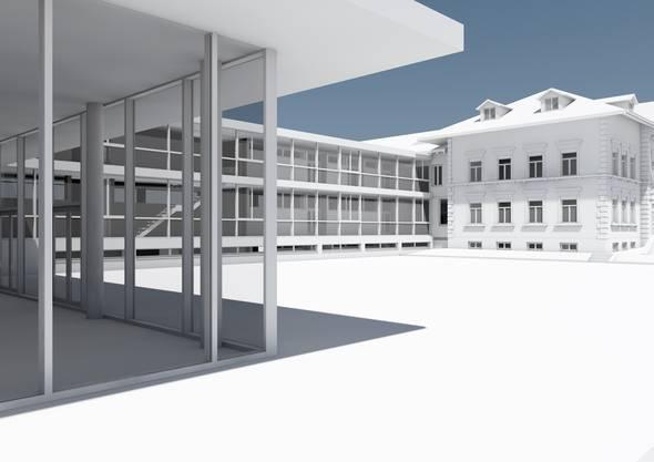 Die Visualisierung des neuen Verbindungstraktes ab 2019 Schulhaus Recherswil
