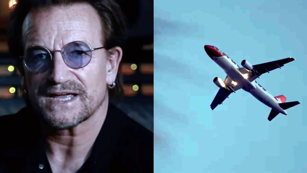 Ein Edelweiss-Flugzeug bei U2 und Kygo