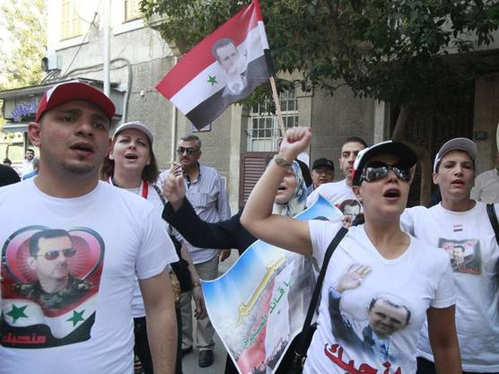 Syrische Demonstranten vor der französischen Botschaft