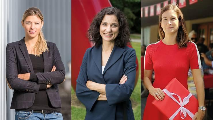 Drei von elf Hoffnungsträgerinnen (v.l.): Karin Bertschi (SVP), Gabriela Suter (SP) und Maja Riniker (FDP)