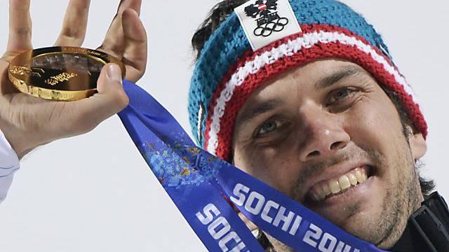 Mario Matt mit seinem Olympia-Gold von Sotschi 2014.
