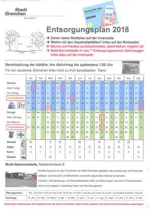 Offizieller Entsorgungsplan der Stadt Grenchen.
