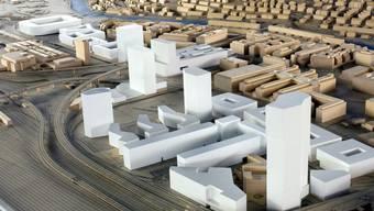 Das neue Stadion (im Hintergrund) soll rund 16'000 Zuschauern Platz bieten (Modellbild der Stadt Zürich)