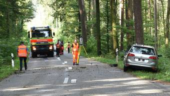 Der Autofahrer knallte frontal in einen Baum. Trotz sofortig eingeleiteter Reanimation verstarb der Mann noch an der Unfallstelle.