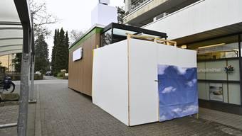 Noch ist der Eingang zum VOI Cube  mit einem Verschlag abgedeckt – der Versuch startet erst im Februar.