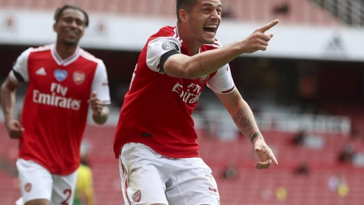 Granit Xhaka freut sich über seinen ersten Saisontreffer in der Premier League