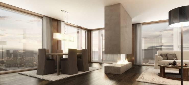 Visualisierter Prototyp von einer Wohnung im Limmat Tower.