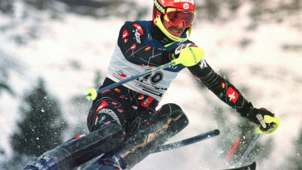 Michael von Grünigen 1999 im Slalom von Wengen, wo er als Zweiter auf dem Podest stand