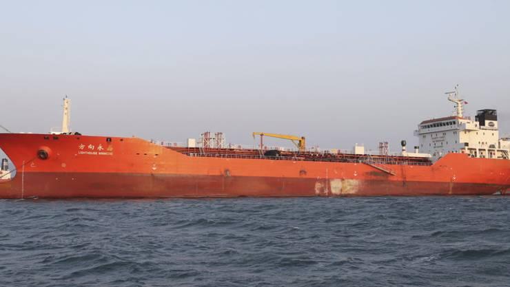 """Der beschlagnahmte Ölfrachter """"Lighthouse Winmore"""", der in Hongkong registriert ist"""