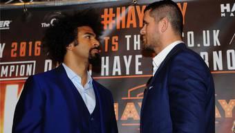Diese zwei Herren werden sich am 21. Mai vor 20000 Zuschauern in London auf die Mütze geben: David Haye (links) und Arnold Gjergjaj.