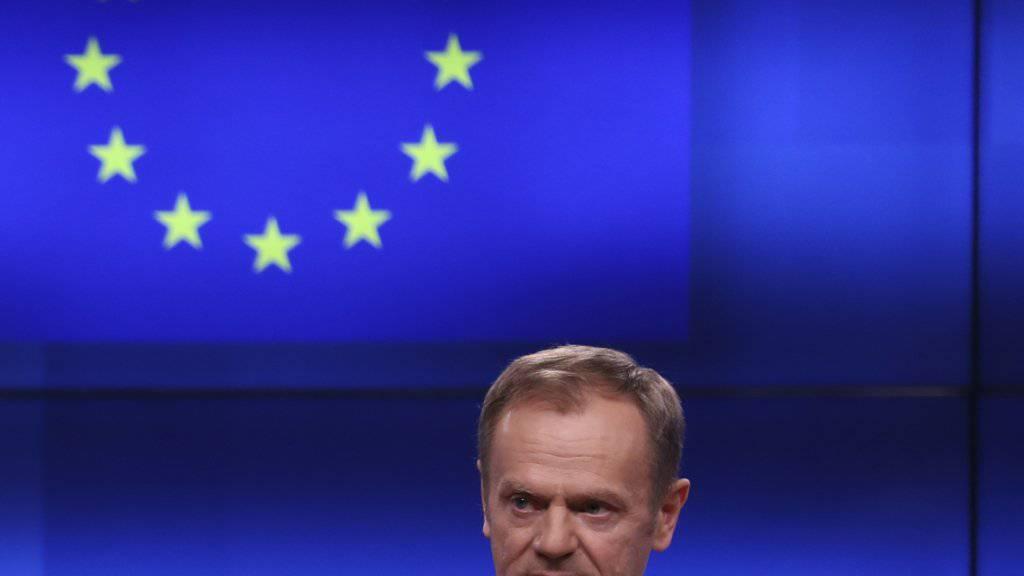 """Platz in der Hölle: EU-Ratspräsident Donald Tusk hat am Mittwoch in Brüssel vor Journalisten darüber nachgedacht, wie der """"Platz in der Hölle"""" für jene aussehen könnte, die den Brexit ohne Plan vrangetrieben haben."""