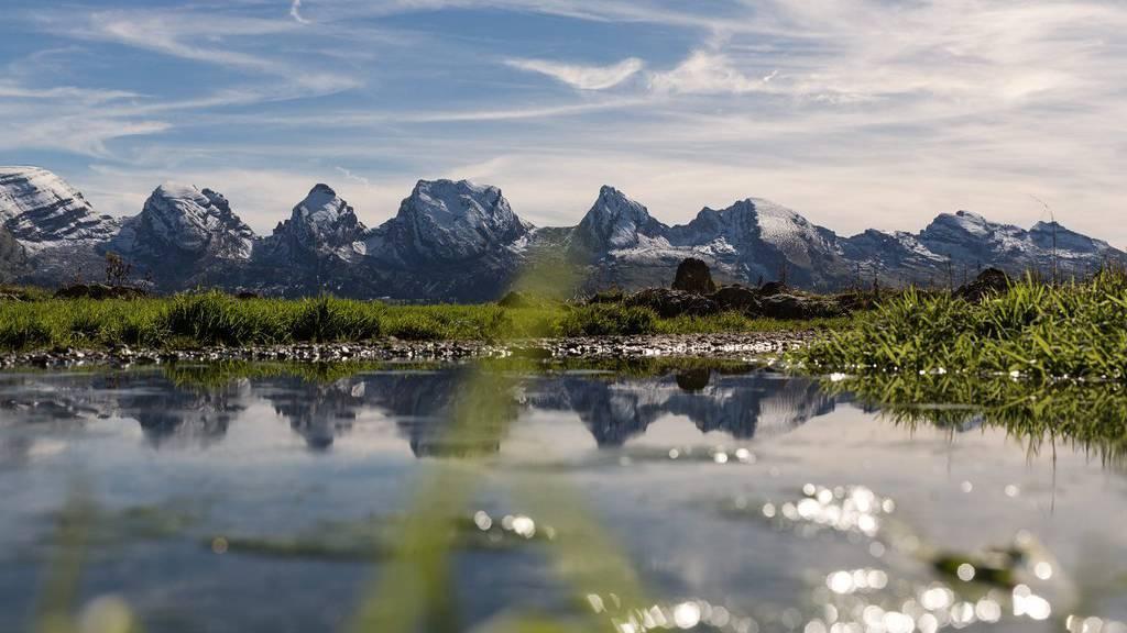 Die schneebedeckten Churfirsten mit Hinterrugg, Schibenstoll, Zuestollen, Brisi, Fruemsel und Selun.