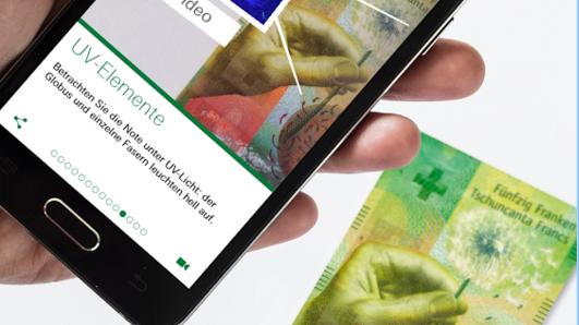 Vernetzt: Die neue 50-Franken-Note per App kennenlernen