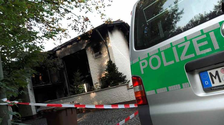 Die ausgebrannte Villa in München