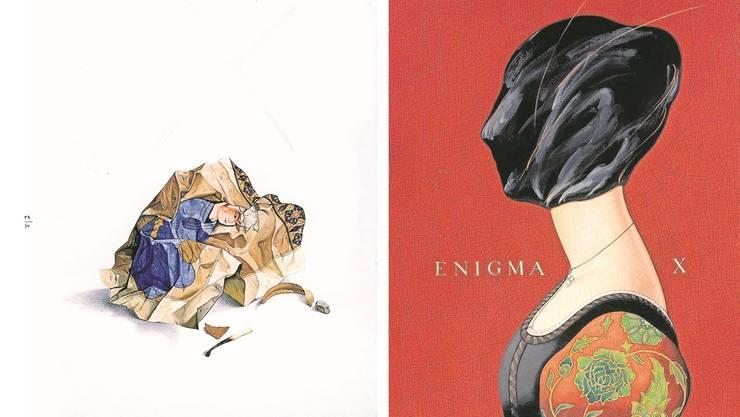 Zwei Werke des zeitgenössischen iranischen Malers Ajdin Aghdaschlu: «Crumpled Miniature», 1980, und «Enigma X», 2009.