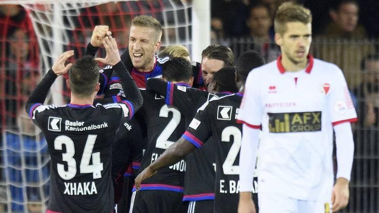 Marc Janko und der FC Basel jubeln über das 2:1.