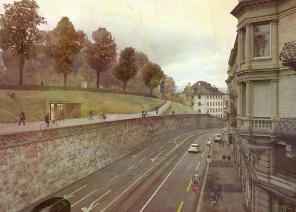 Filippo Leuteneggers weitere Idee: Der Fuss- und Veloverkehr soll an der Rämistrasse auf der Stützmauer geführt werden.
