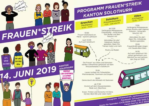 Das Programm zum Frauenstreik im Kanton Solothurn