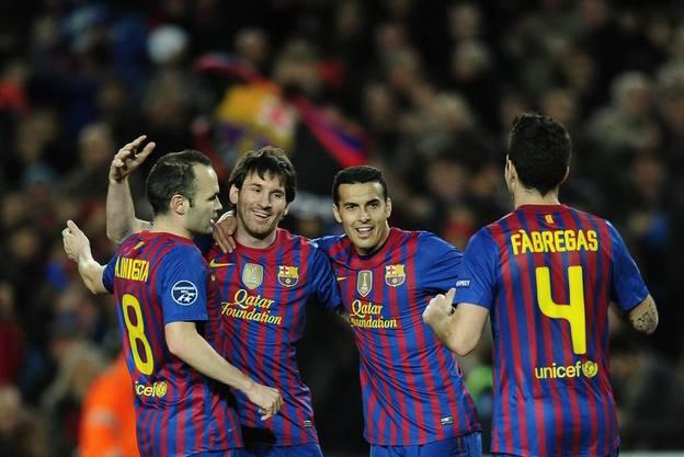 Lionel Messi (2.v.l) fünffacher Torschütze gegen Leverkusen