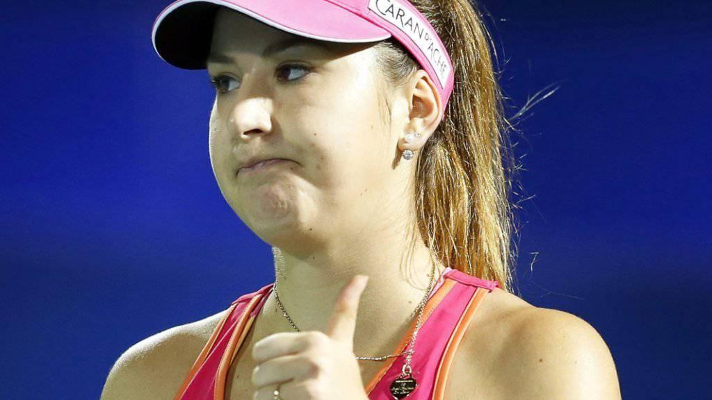 Daumen hoch: Belinda Bencic qualifizierte sich in Indian Wells nach hartem Kampf für die 3. Runde