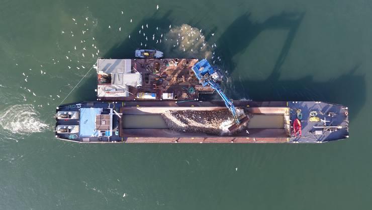 Seit Juli wird die Schifffahrtsrinne im Rhein ausgebaggert