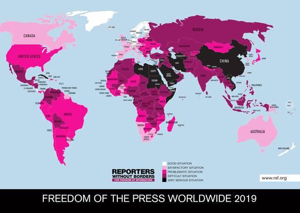 So sieht die Weltkarte der Pressefreiheit aus.