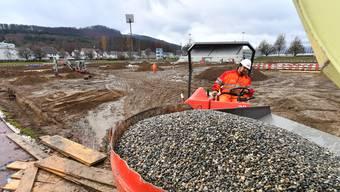 Im Kleinholz wird der Fussballplatz saniert.